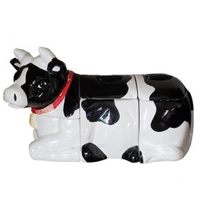 Vintage Kitchen - Vtg 90s Holstein Cow Canister Set 6 pcs Ceramic